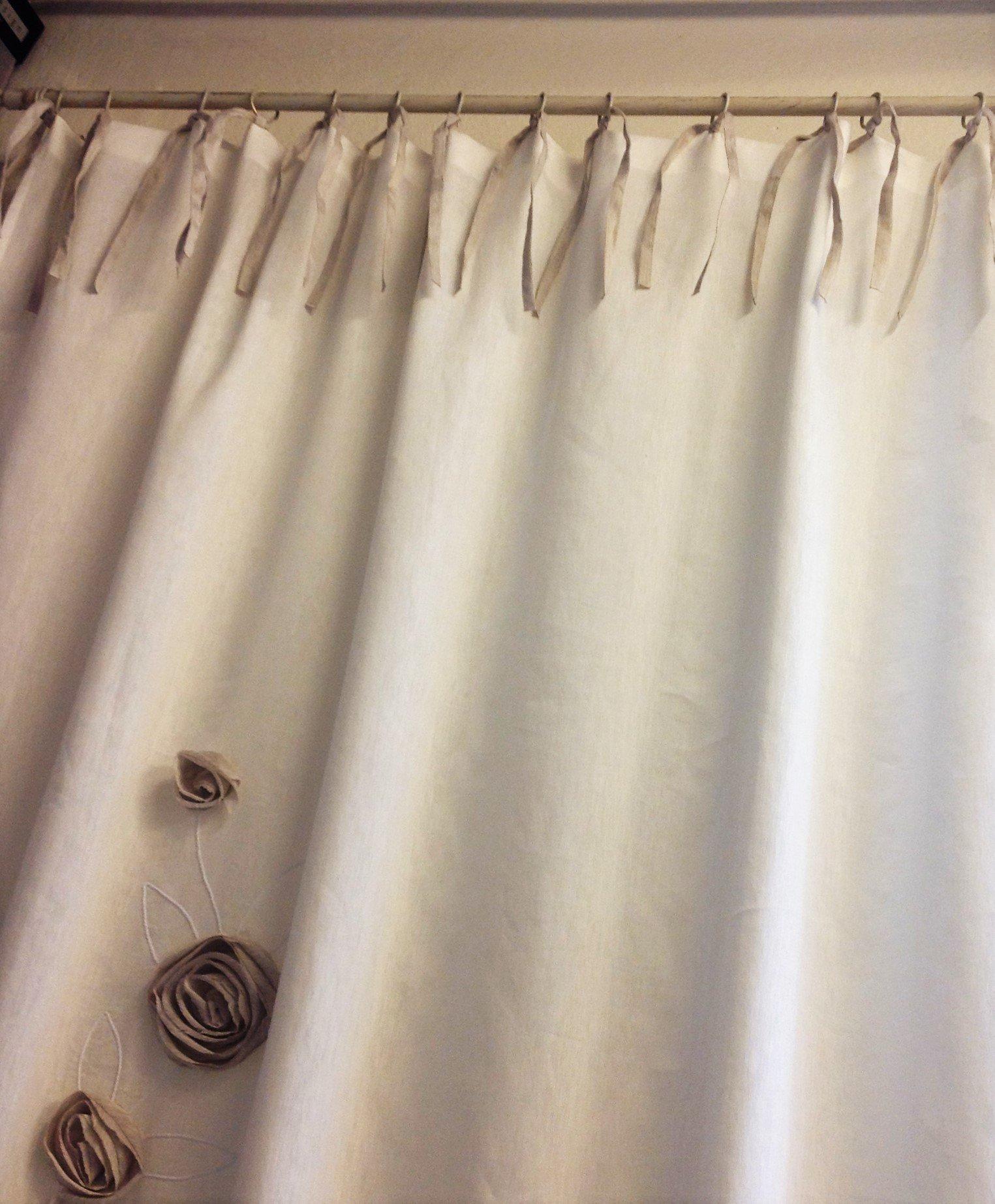 Tenda in lino con applicazioni fiori - Vergnano Tendaggi